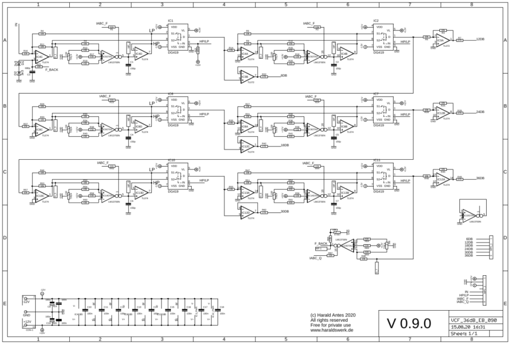 6..36db VCF Highpass/Lowpass: Main board schematic
