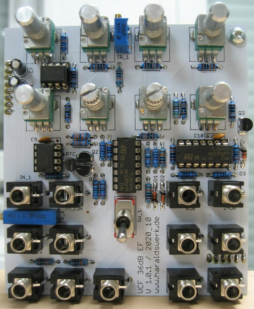 6..36db VCF Highpass/Lowpass: Populated control PCB