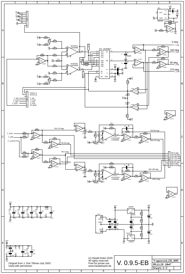Trapezoid quadrature through zero VCO with waveshapers: Schematic main PCB