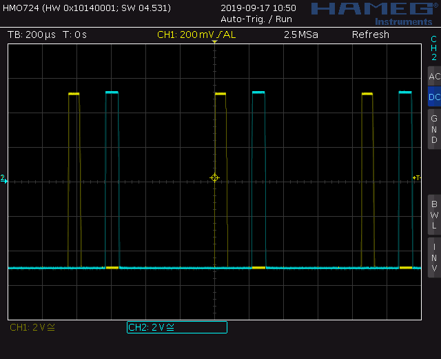 Trapezoid quadrature through zero VCO with waveshapers: Screenshot pulse wave out