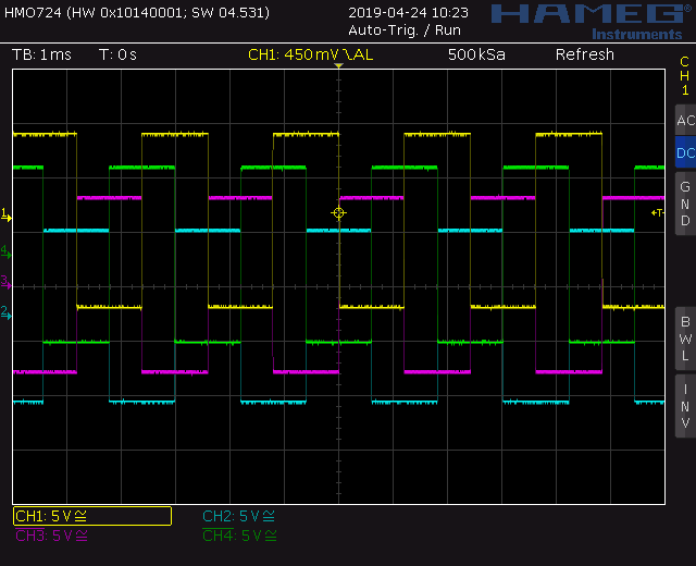 Trapezoid quadrature through zero VCO with waveshapers: Screenshot square wave out
