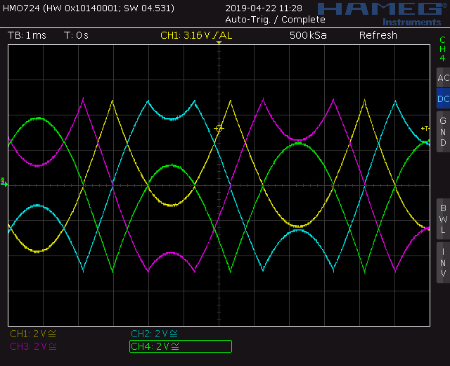 Trapezoid quadrature through zero VCO with waveshapers: Screenshot triangle through zero out